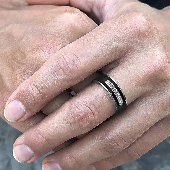 Amazon.com: Set de anillos de boda para Ella y El de acero ...