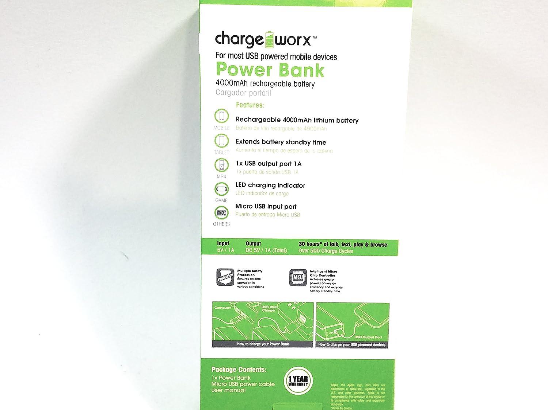 Amazon.com: Charge Worx Black Portable Power Bank 4000mAH ...