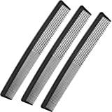 3 Pack Black Carbon Barber Fiber Cutting Comb,Fine Tooth Hair Comb,Hairdressing Styling Combs,Heat Resistant Combs…
