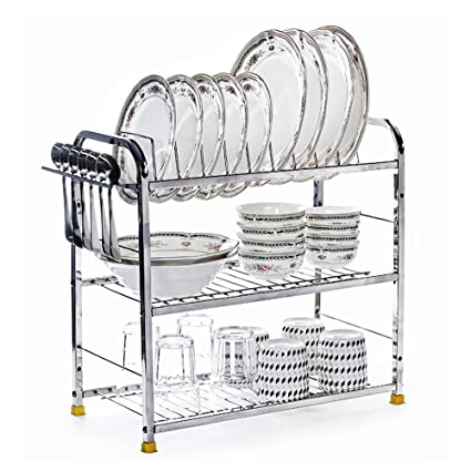 Home Creations 3 Layer 18 Inch Kitchen Dish Rack Plate Cutlery Stand / Kitchen Utensils Rack  sc 1 st  Amazon.in & Buy Home Creations 3 Layer 18 Inch Kitchen Dish Rack Plate Cutlery ...