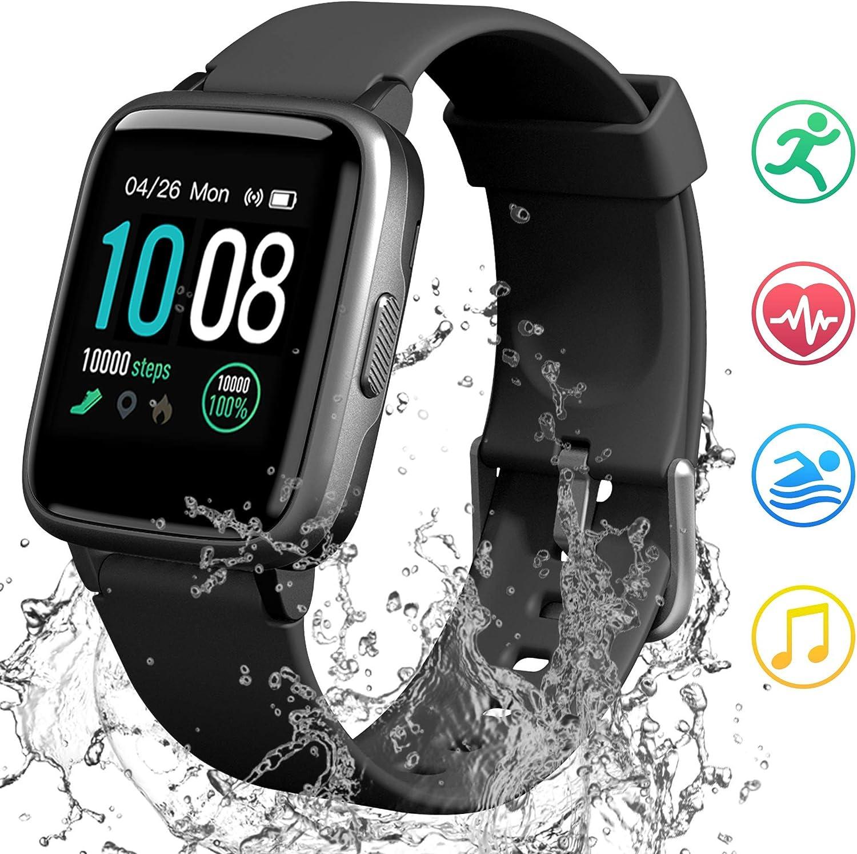 GRDE Reloj Inteligente Deportivos, Smartwatch Hombre Mujer Bluetooth 5ATM Impermeable Pulsera Actividad con (Pulsómetro Cardíaco y Sueño) Reloj con Cronómetro y Despertador, Regalo para Dia la Madre