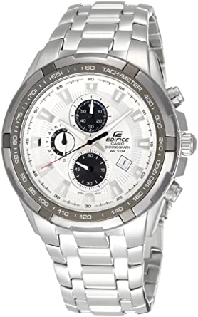 66be8b635 Edifice Watch for Men by Casio, Analog, Chronograph, Stainless Steel,  Silver,