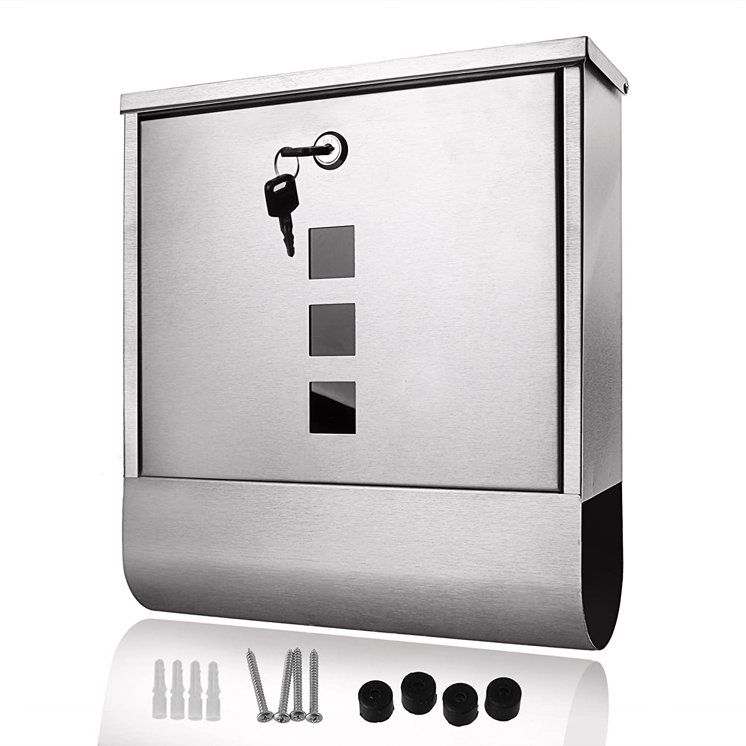 Mailbox stainless steel locking mail box letterbox postal box modern - Homdox Stainless Steel Wall Mounted Mailbox Lockable Letterbox Post Box With Retrieval Door Newspaper Roll Us In Stock Amazon Com