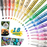 Bamoer Acrylic Paint Pens, 18 Color 0.7mm Fine Tip Acrylic Paint Marker for Rock Painting, Fabric, Wood, Ceramic, Water…