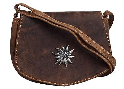 a86c7219d250 Greenburry Vintage Trachten-Tasche Ledertasche klein Dirndl-Tasche in  Herzform und Edelweiss - 17