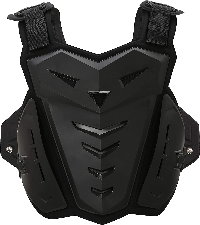 Suntime Armadura Motocross Guapo Chaleco de Protección de Columna Vertebral Protector de Espalda de Pecho Cuerpo Hombre Mujer para Montar Moto, Patinaje Esquí, etc (Adulto Negro)