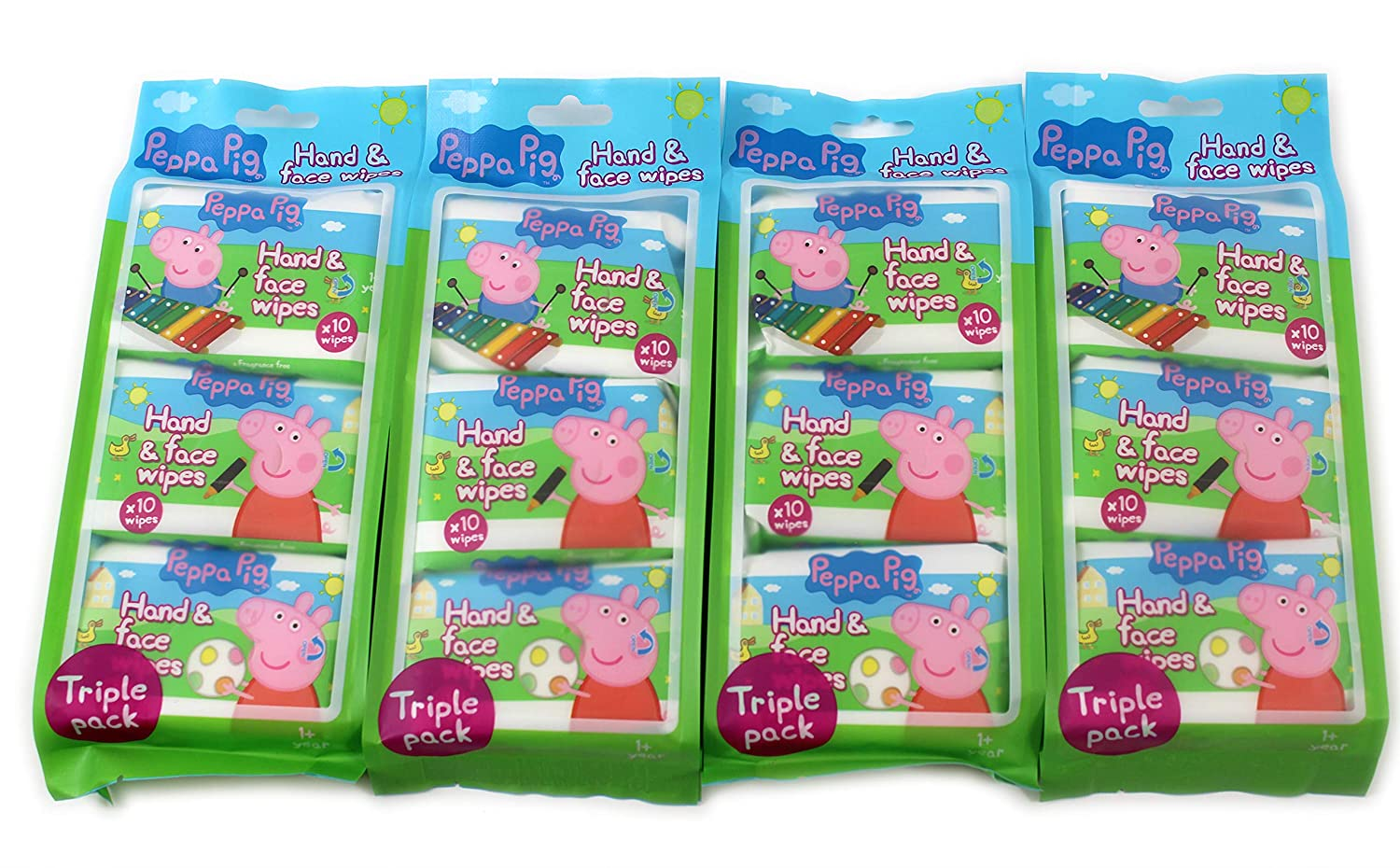 Peppa Pig Hand & Face Wipes for Kids Babies 30 Wipes Per Pack Disposable Towel (4 Packs (120 Wipes)) giftsbynet