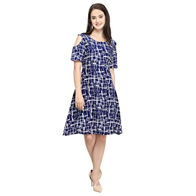 35a22456a86 Globalia Creation Women's Crepe dress | dresses for women kurtis | western  dresses for girls | new design collection 2018 | tops for women (blue beige)