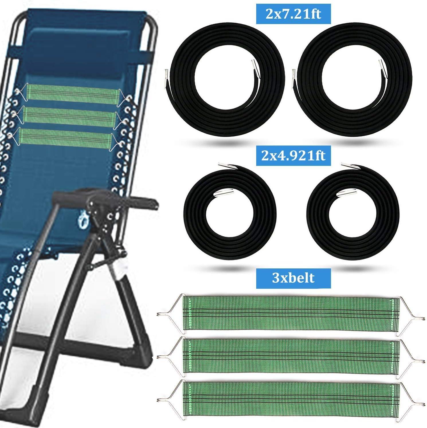 tEEZErshop – Cuerda de goma con 3 bandas de refuerzo para tumbona de relax, tumbona de jardín, tumbona de playa, juego de 4 cuerdas con cordón elástico (2 cordones largos y 2 cortos)
