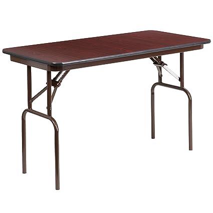 Flash Furniture 24u0027u0027 X 48u0027u0027 Rectangular High Pressure Mahogany Laminate  Folding Banquet