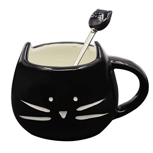 4 opinioni per MOONPOP Gatto cucchiaio tazza da caffè tè latte acqua tazza di ceramica, 300 ml,