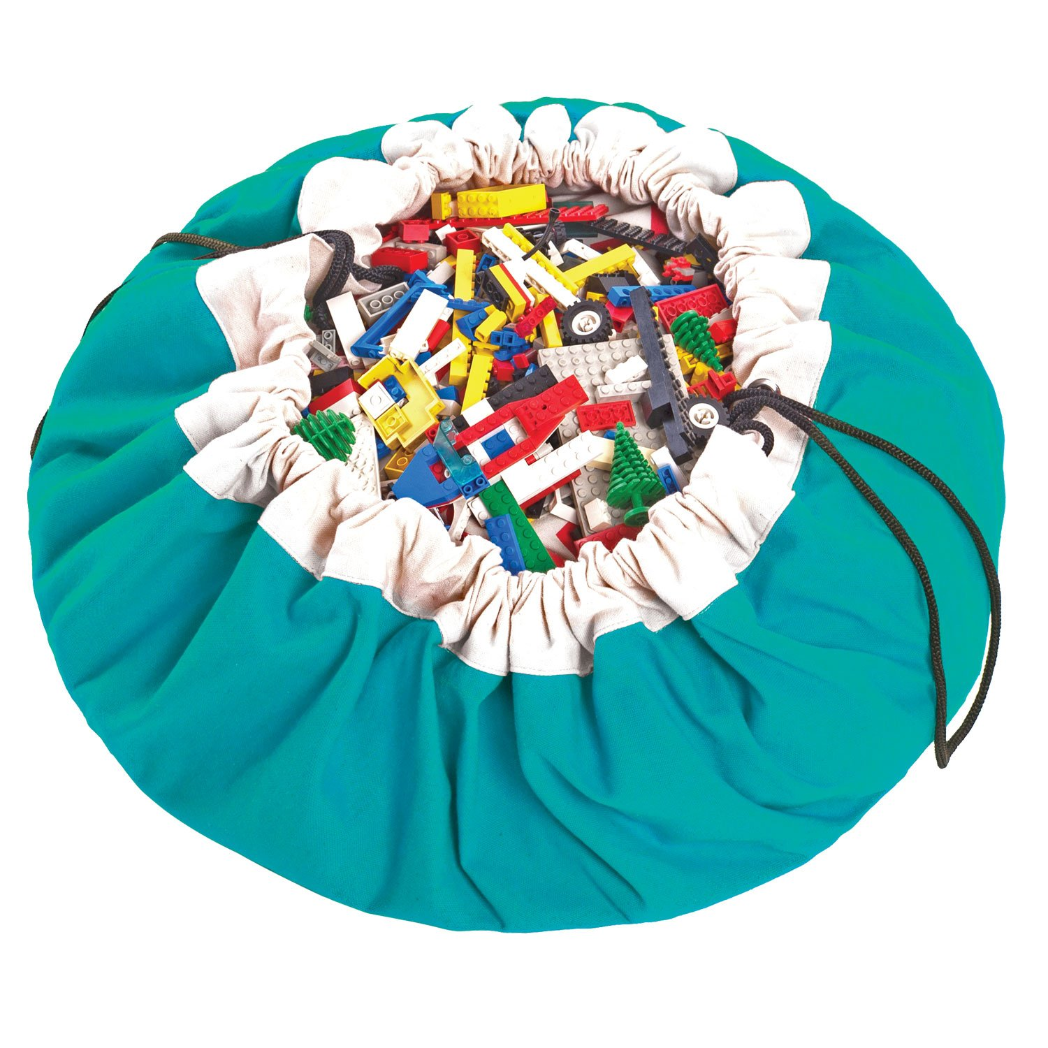 Play Mat and Toy Storage Bag - Durable Floor Activity Organizer Mat - Large Drawstring Portable Container for Kids Toys, Books - 55'', Turquoise