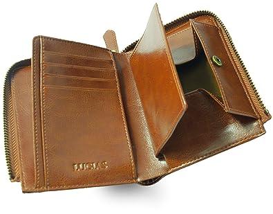 52c372f1e7d1 Amazon | [LUCIAS] 二つ折り財布 本革 ファスナー BOX型小銭入れ 大容量 ...