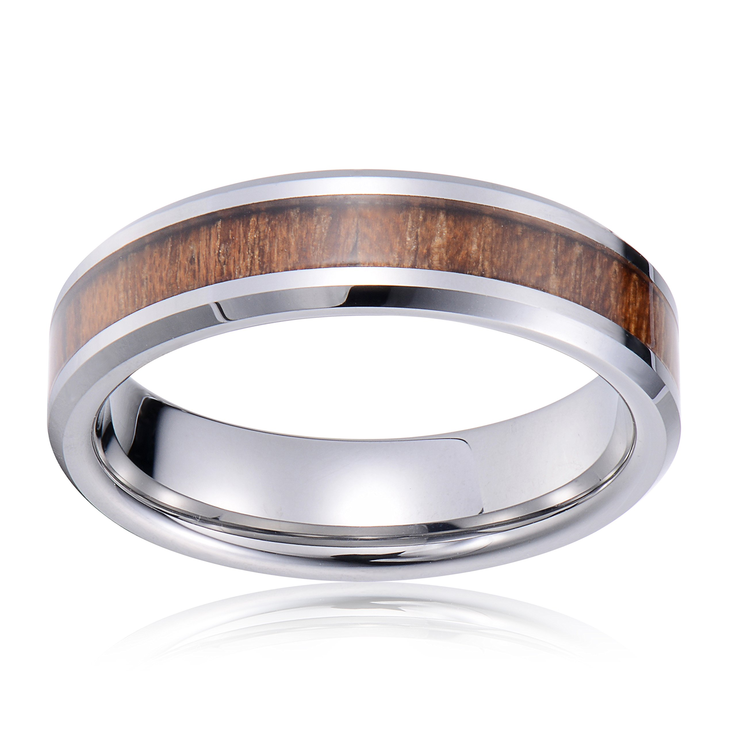 Tiitc Wedding Band Ring Tungsten Carbide Ring Real Koa Wood Inlay Beveled High Polisfed Edge Comfort Fit 6mm (10.5) by tiitc (Image #2)