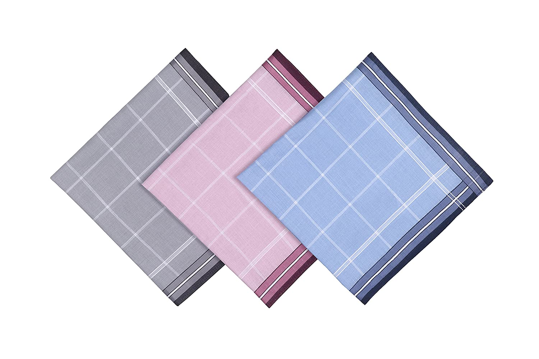Blank&Black 100% Pure Cotton Men's Handkerchief 3 Pieces Gift Set 4001)