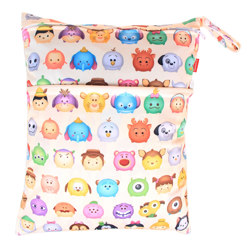 Gray Chevron Damero 2pcs Pack Travel Baby Wet and Dry Cloth Diaper Organiser Bag