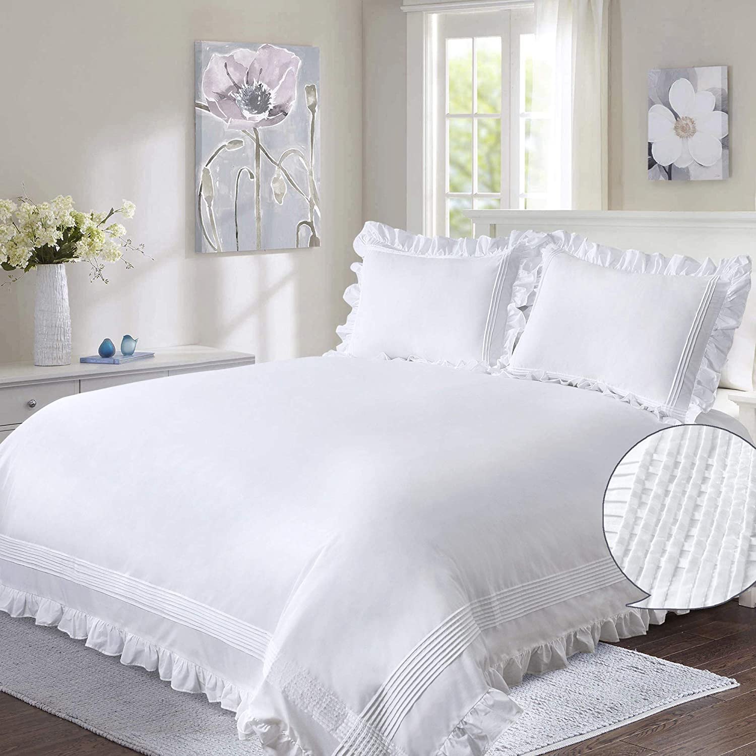 YINFUNG Ruffle Duvet Cover White Queen Women 3PC Shabby Chic Boho Trimmed Quilt Cover Girl Frilly 90x90 Farmhouse Rustic Flounce Border Pintuck Country Bed Set French Romantic Cute 2 Pillow Shams