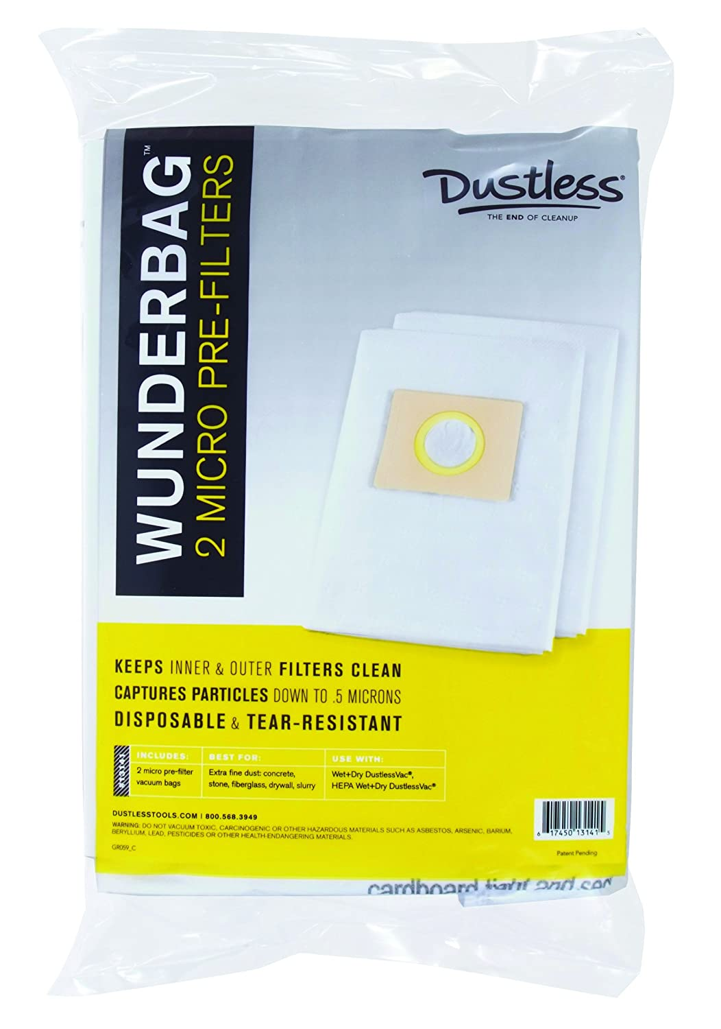 Wunderbag Universal High Capacity Pre-Filters for Wet Dry Vacuums, 2 Pack Dustless Technologies 13141