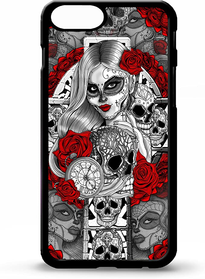 Like Your Face Sugar Skull Girl Cross Day Of The Dead Tattoo Rose Candy Skull Graphic Phone Case Cover For Iphone 5 5s 6 6s 7 8 Plus X Xs Max Xr