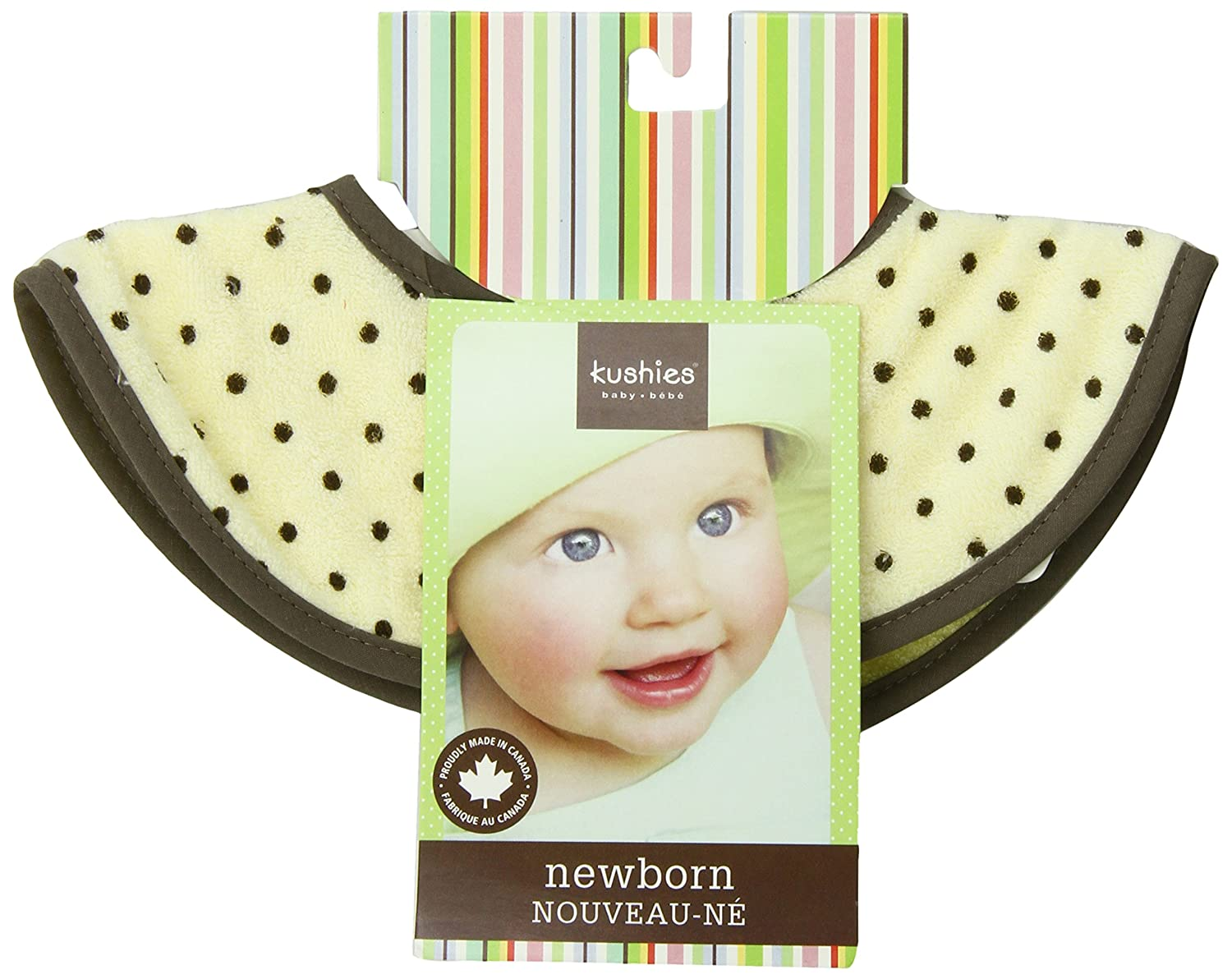 Kushies Chin Bib Absorbent Terry Teething/Stay Dry Drool Bib, Yellow Dots, Newborn B248-A02