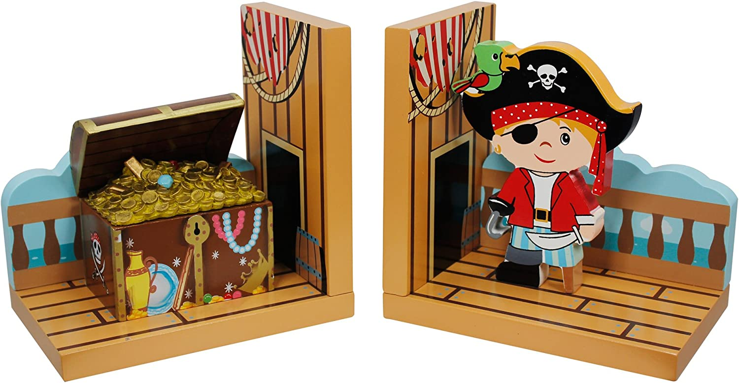 Fantasy Fields - Pirate Island Thematic Set of 2 Wooden Bookends for Kids | Imagination Inspiring Hand Crafted & Hand Painted Details | Non-Toxic, Lead Free Water-based Paint