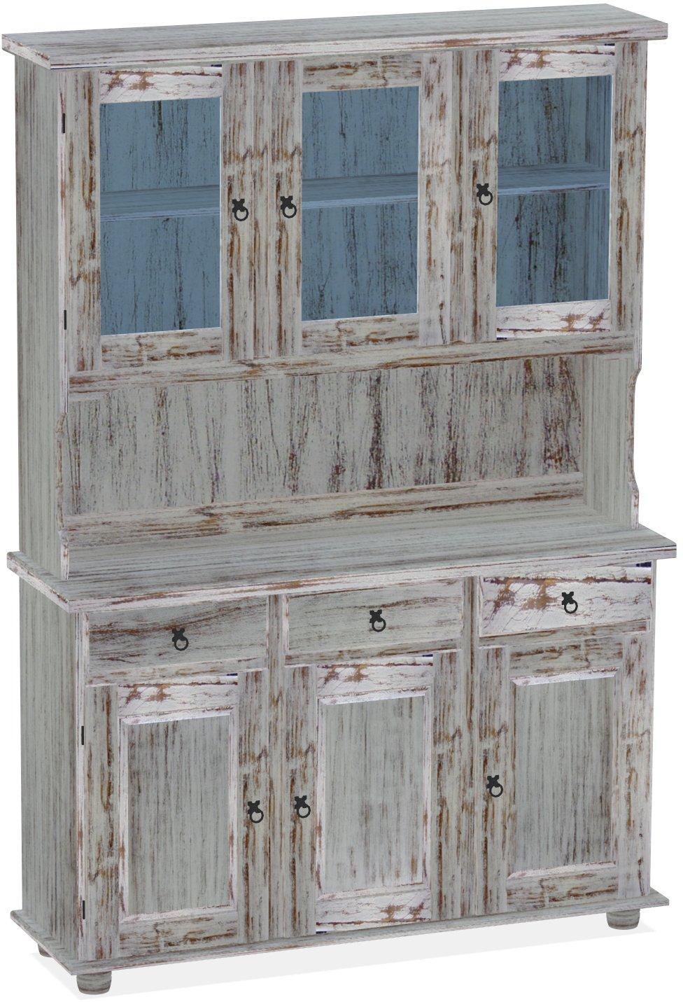 Brasilmöbel Highboard, Pinie Massivholz, geölt und gewachst Shabby – Eiche antik, L/B/H: 129 x 39 x 187 cm