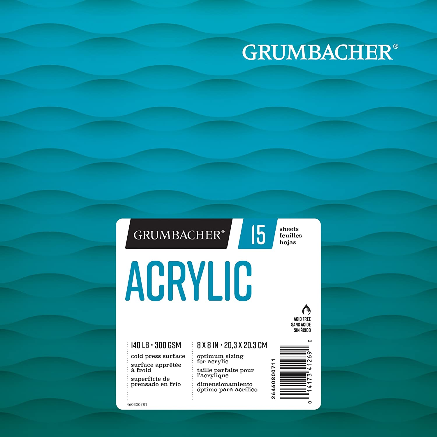 Grumbacher Acrylic Paper Pad with In & Out Pages, 140 lb. / 300 GSM, 9 x 12 inches, Side Wired, 15 White Sheets/Pad, 1 Each, 26460801013 Chartpak Inc.