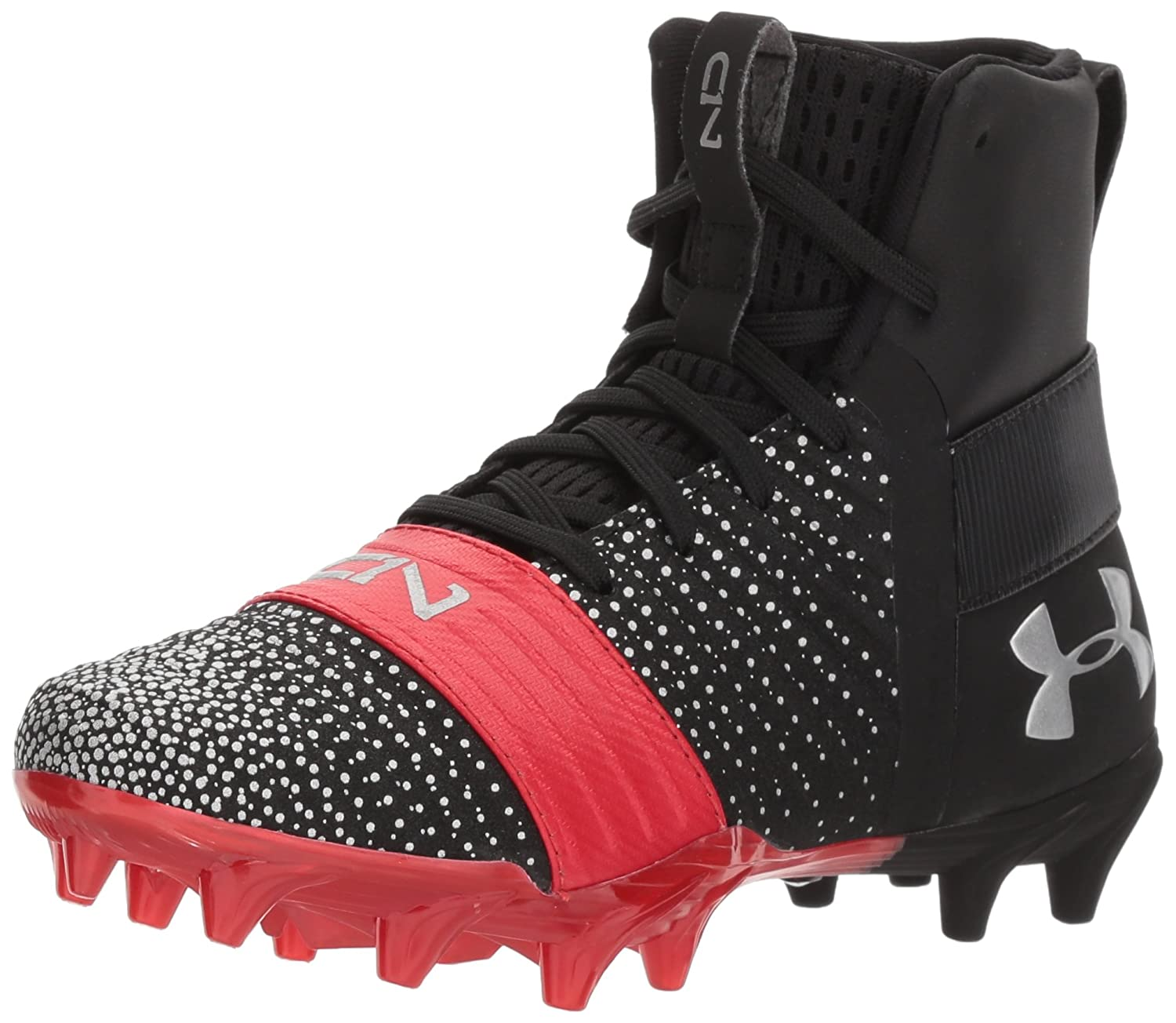 Under Armour Boys' C1N MC Jr. Football Shoe, Black (002)/Red, 4.5 3000192