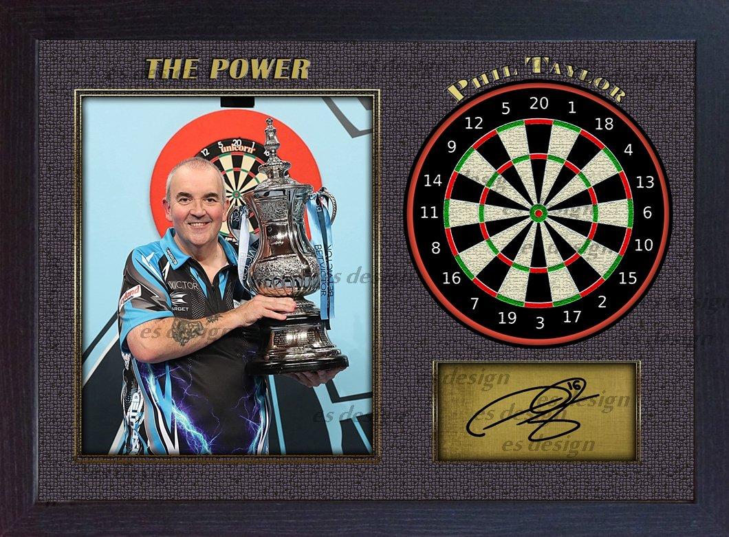 """S& E Desing Mit dem Autogramm von Phil Taylor """"The Power"""" versehenes Foto mit Dartscheibe, eingerahmt"""