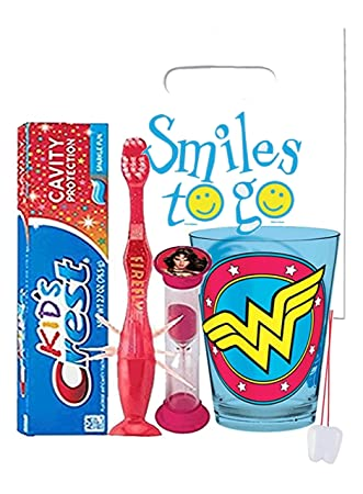 DC Comics Wonder Woman Inspired 4pc Bright Smile Oral Hygiene Bundle! Light  Up Toothbrush,