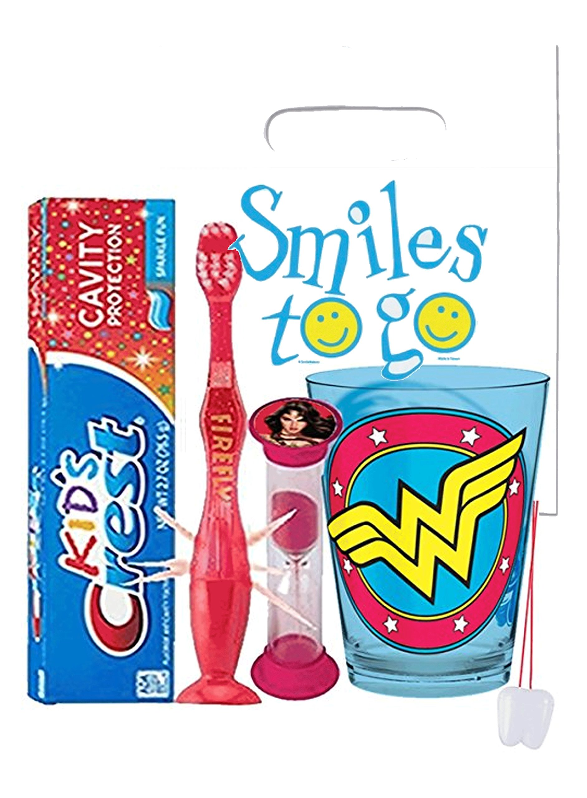 DC Comics Wonder Woman Inspired 4pc Bright Smile Oral Hygiene Bundle! Light Up Toothbrush, Toothpaste, Brushing Timer & Mouthwash Rise Cup! Plus Dental Gift Bag &Remember to Brush Visual Aid!