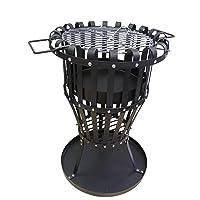 Feuerkorb schwarz XXL Fire Basket ✔ rund ✔ stehend grillen ✔ Grillen mit Holzkohle