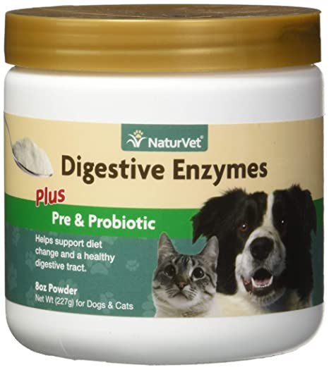 NaturVet DIGESTIVO ENZIMAS Y PROBIÓTICOS Sana Digestión Perros/Gatos 226 g