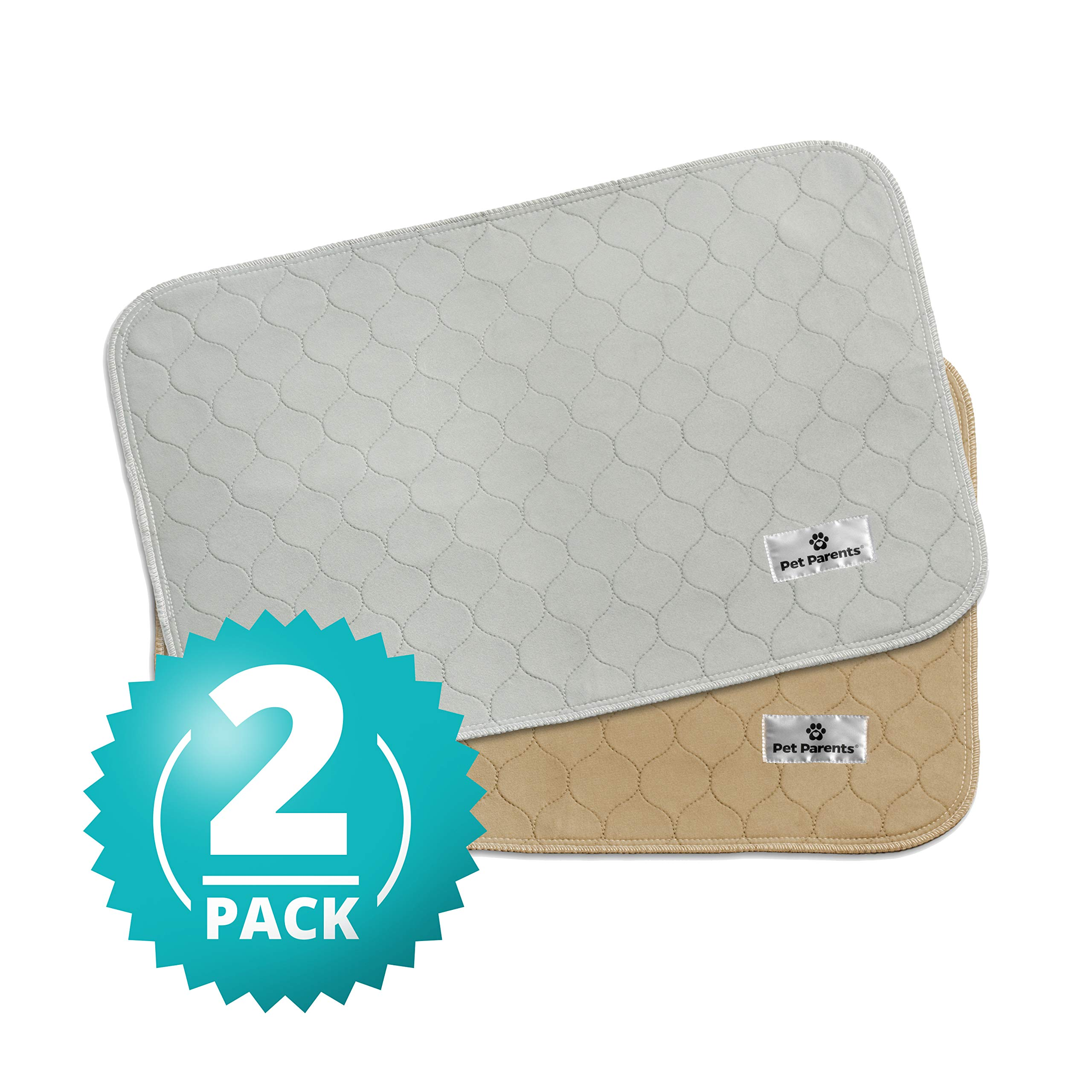 Pet Parents Washable Dog Pee Pads (2pack) of (18x24) Premium Pee Pads for Dogs, Waterproof Whelping Pads, Reusable Dog Training Pads, Quality Travel Pet Pee Pads. Modern Puppy Pads! (1 Tan & 1 Grey) by Pet Parents