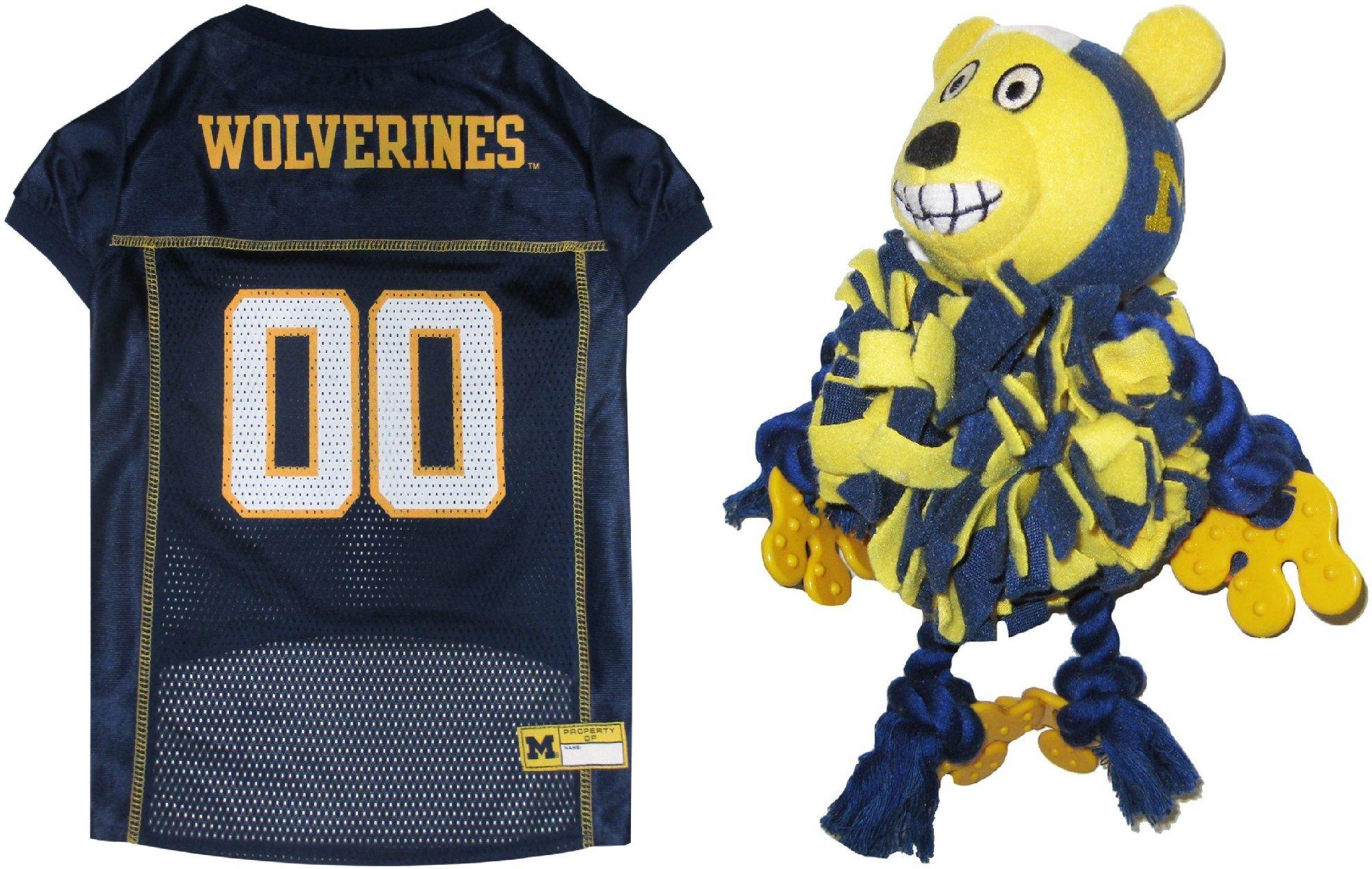 Michigan Wolverines Pet Pom Pom Toy & Pet Jersey Bundle, Small. - WOLVERINES Dog Jersey & Pom Pom Dog Toy