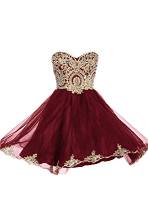 99Gown Prom Dresses Short Lace Prom Homecoming Dresses Affordable Beautiful Sparkly Dress, Color Burgundy,
