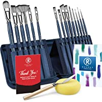 [Upgraded] Rosmax Artist Paint Brush Set - 15 Different Sizes Acrylic Oil Watercolor,Painting Kits Nylon Hair-Perfect…