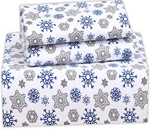 Amazon Com Ruvanti 100 Cotton 3 Pcs Flannel Sheets Twin Snow Flake Print Deep Pocket Warm Super Soft Breathable Twin Size Flannel Kids Bedding Sheets Set Include Flat Sheet Fitted Sheet