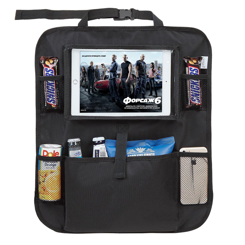 Tech Traders /® Organizador de asiento trasero de coche con soporte para tabletas y iPad de 10 para ni/ños protector organizador con almacenamiento impermeable para respaldo de asiento