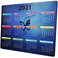 Shalysong 2021 Calendar Mouse pad Blue Glass Butterfly Computer Mouse pad