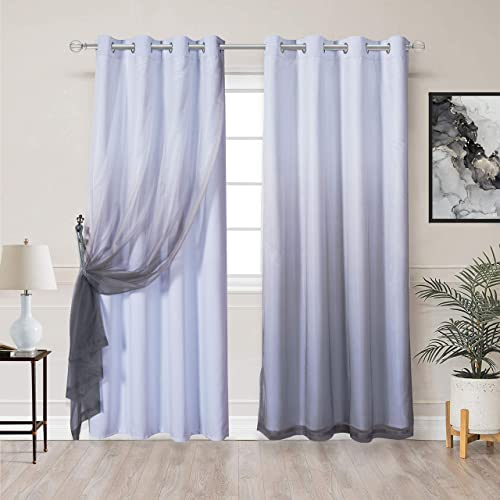 WONTEX Mix Match Blackout and Sheer Ombre Curtain