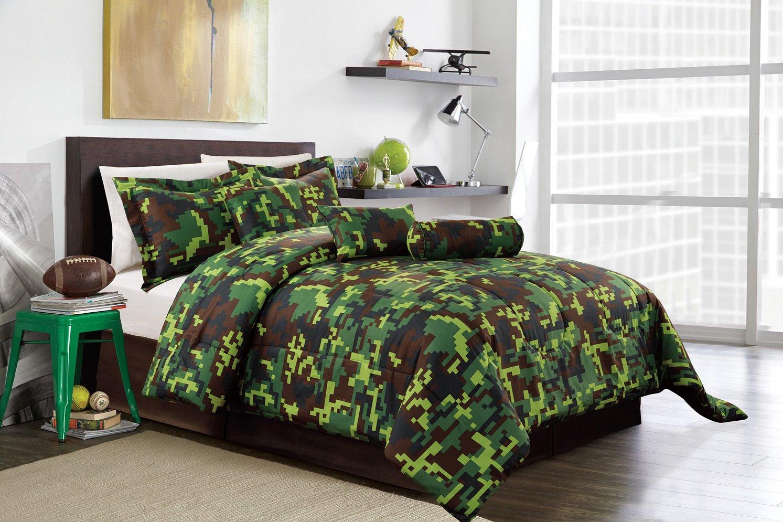 Hunter Green Brown Black Camouflage Camo Pixel Comforter Set Bed In A Bag King Size Bedding
