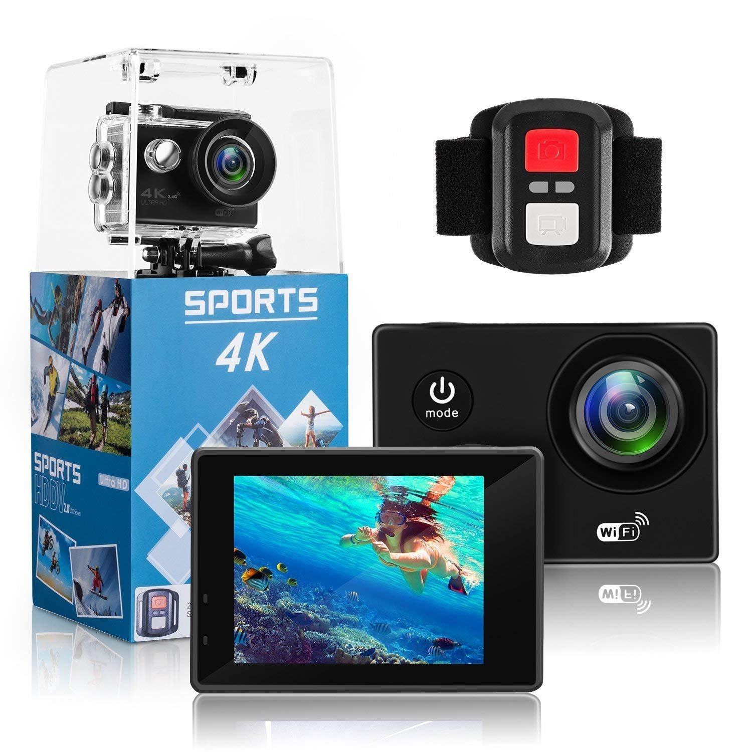 4K Action Camera,Wewdigi HE9000 4K Sports Action Camera Ultra HD 30m Waterproof WiFi 16MP DV Camcorder 170 Degree Wide 2 inch LCD Screen/Remote Control/4k/HD 19 Mounting Kits-Black (4k) by Wewdigi