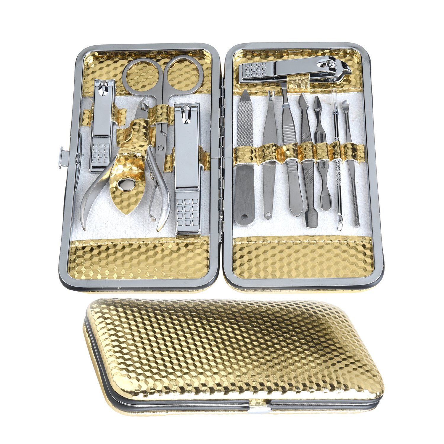 Gizhome Manicure Pedicure Set Nail Clippers- 12 Piece Stainless Steel Manicure Kit, Professional Grooming Kit, Nail Tools with Luxurious Travel Case (Gold)