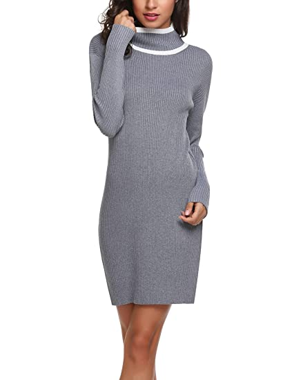 03e00b2710 Chigant Women Jumper Dresses Long Sleeve Turtleneck Roll Neck Knitted  Bodycon Dress Jumper Slim Fit Casual Dress Winter Dress  Amazon.co.uk   Clothing