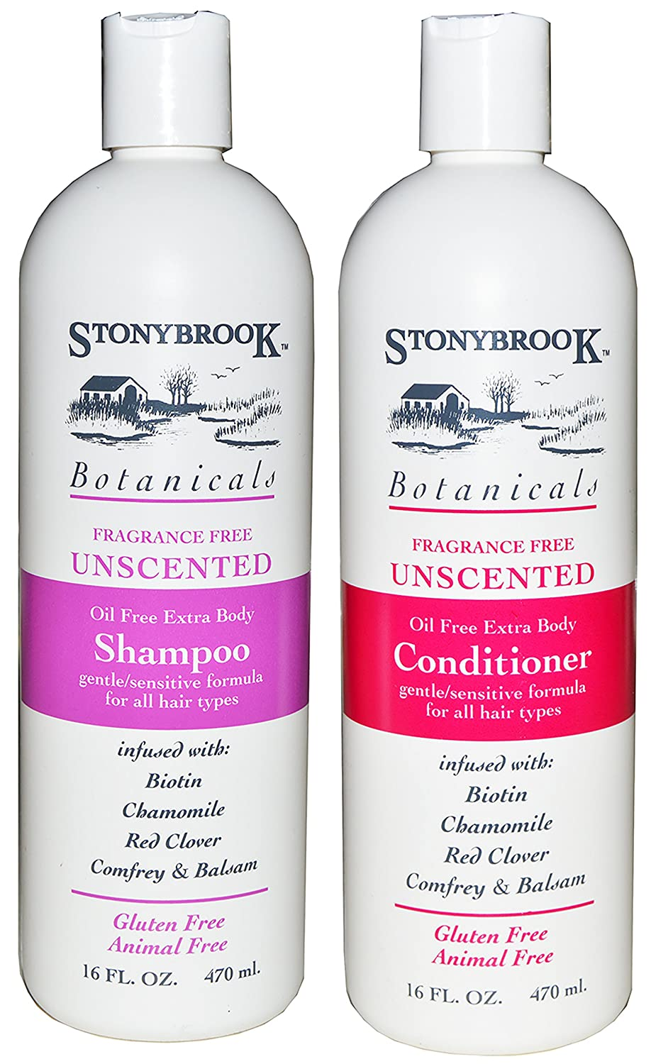 Stonybrook Botanicals Fragrance Free Unscented Shampoo and Conditioner Set
