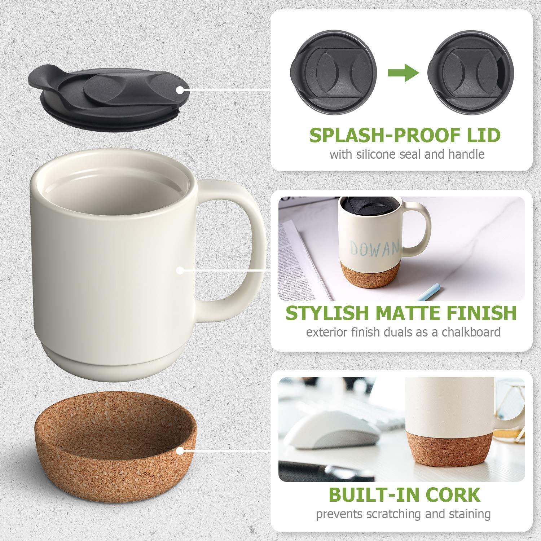 Grandes Tasses en C/éramique Beige Tasses /à Th/é avec Bouchon en li/ège isol/é et Couvercle Anti-/éclaboussures 443 ML DOWAN Tasses /à Caf/é Lot de 2