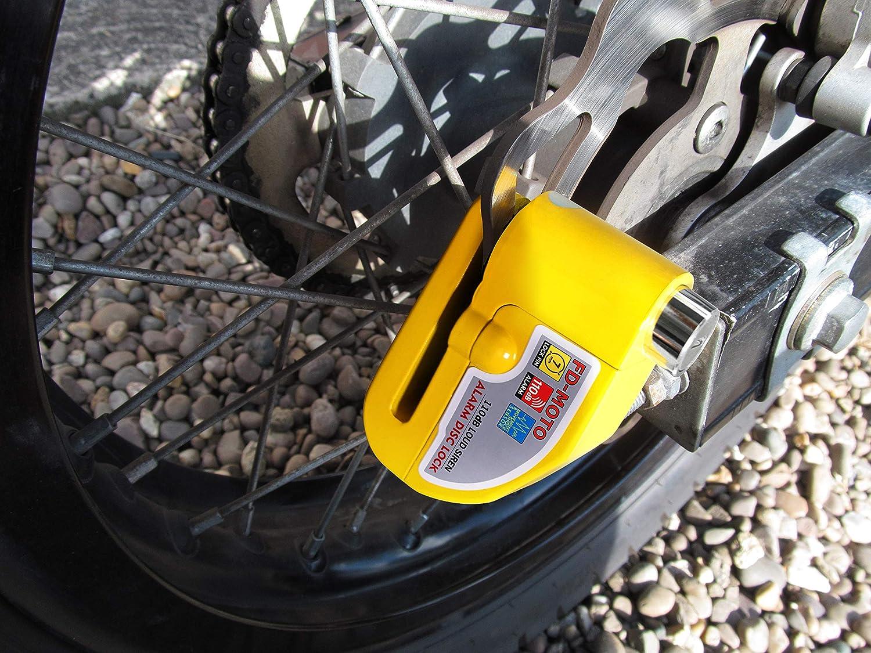 110dB Alarme Bloque Disque Cadenas Moto pour V/élo Bicyclette Moto Scooter FD-MOTO /φ10MM//1,2M Longue Antivol de Cha/îne