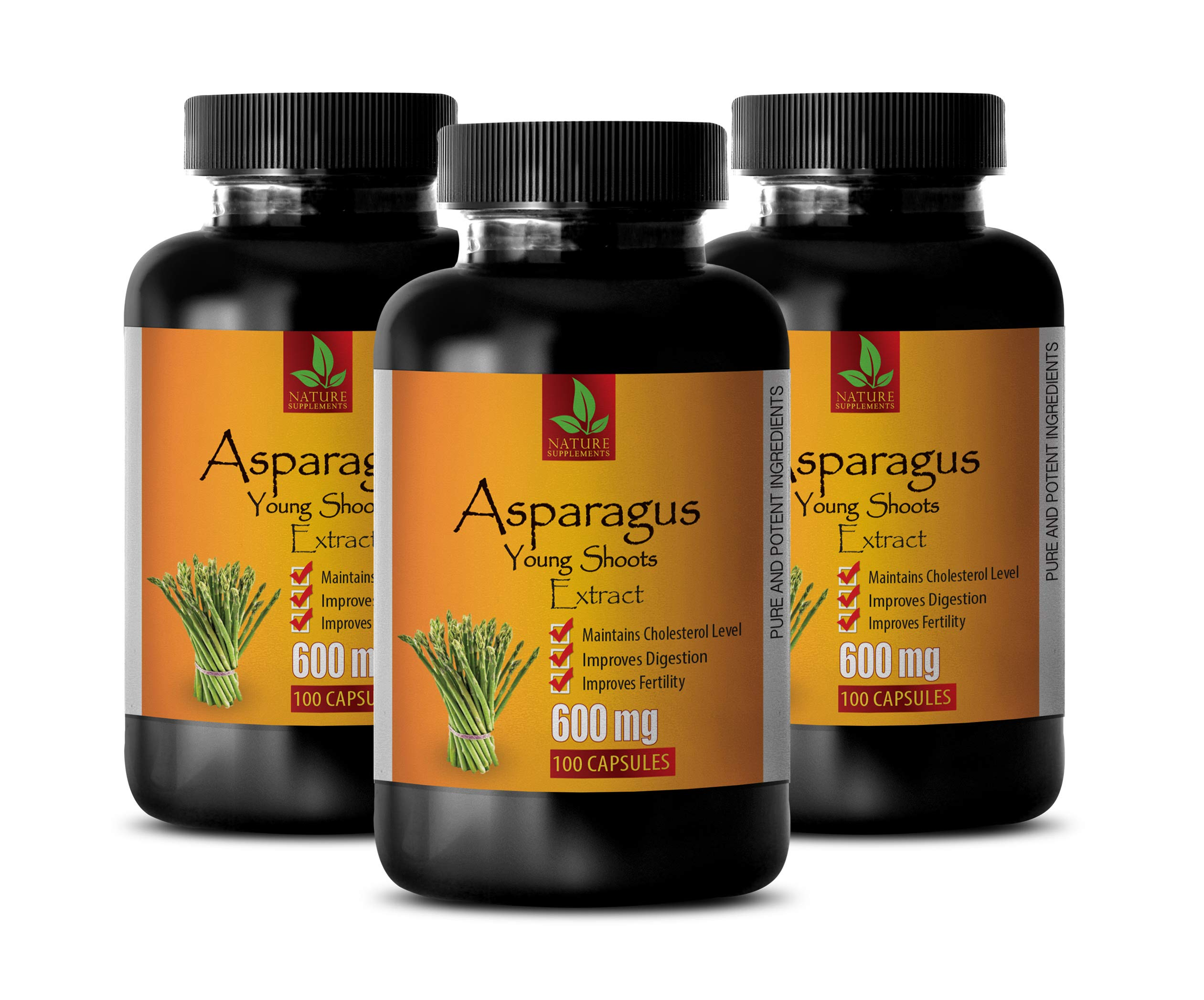 Brain Memory Supplements - Asparagus Young Shoots Extract 600 MG - Pure and Potent Ingredients - Digestion Vitamins - 3 Bottles 300 Capsules