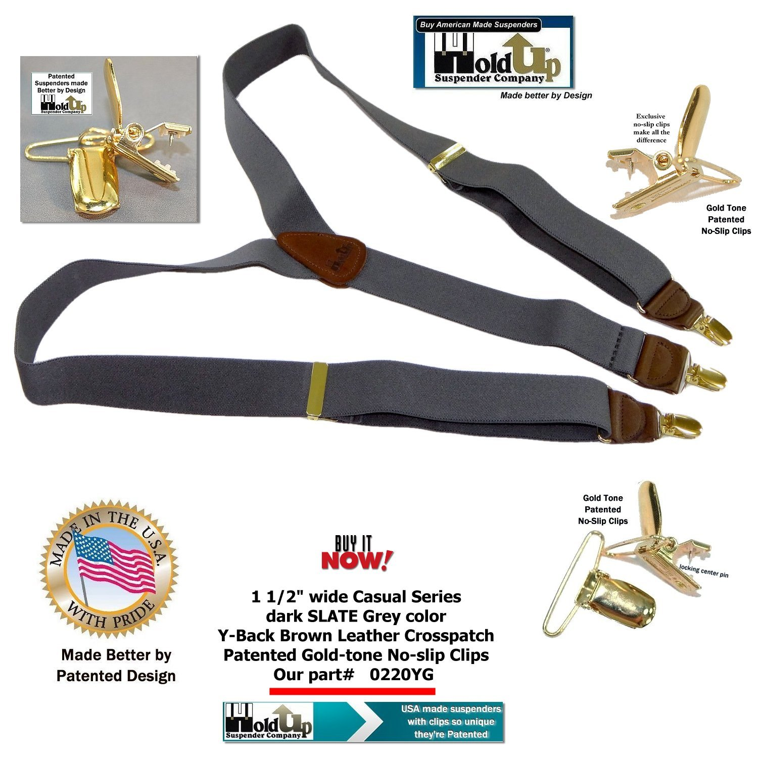 Holdup Suspender Company Slate Grey Men's Y-back Clip-on Suspenders in 1 1/2'' width featuring Patented No-slip Gold-Tone Clips by Hold-Up Suspender Co. (Image #2)